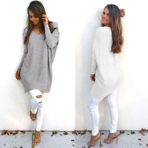Damen-V-Ausschnitt-Pullover-Sweatshirt-Tunika-Longshirt-Jumper-Langarm-Mode