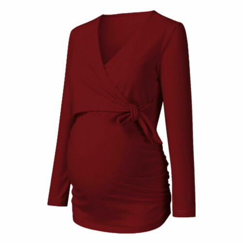 UK Womens Maternity Tops Long Sleeve Blouse Pregnancy Shirts Casual T-shirts