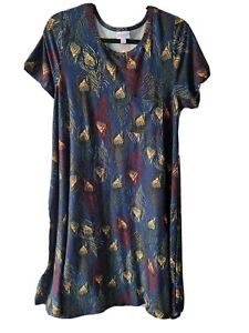 LuLaRoe Carly Hi Lo Swing Dress Large Peacock Feathers butter soft NWT