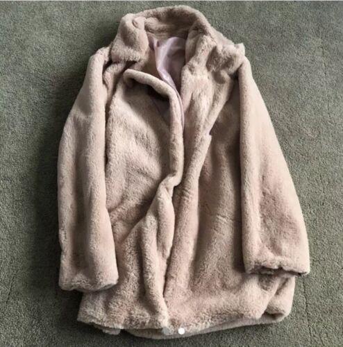 rose fausse taille fourrure Manteau en moyenne wtY6H
