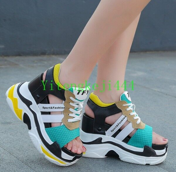Women Fashion Sneakers Platform Wedge Sport Sandals Sandals Sandals High Heel Creepers shoes New 4313a4