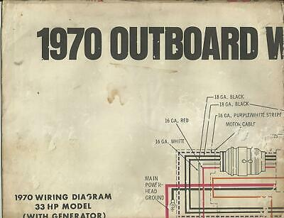 Johnson Marine Boat 1970 Outboard Wiring Diagrams 35 Hp 40 Hp Models Ebay