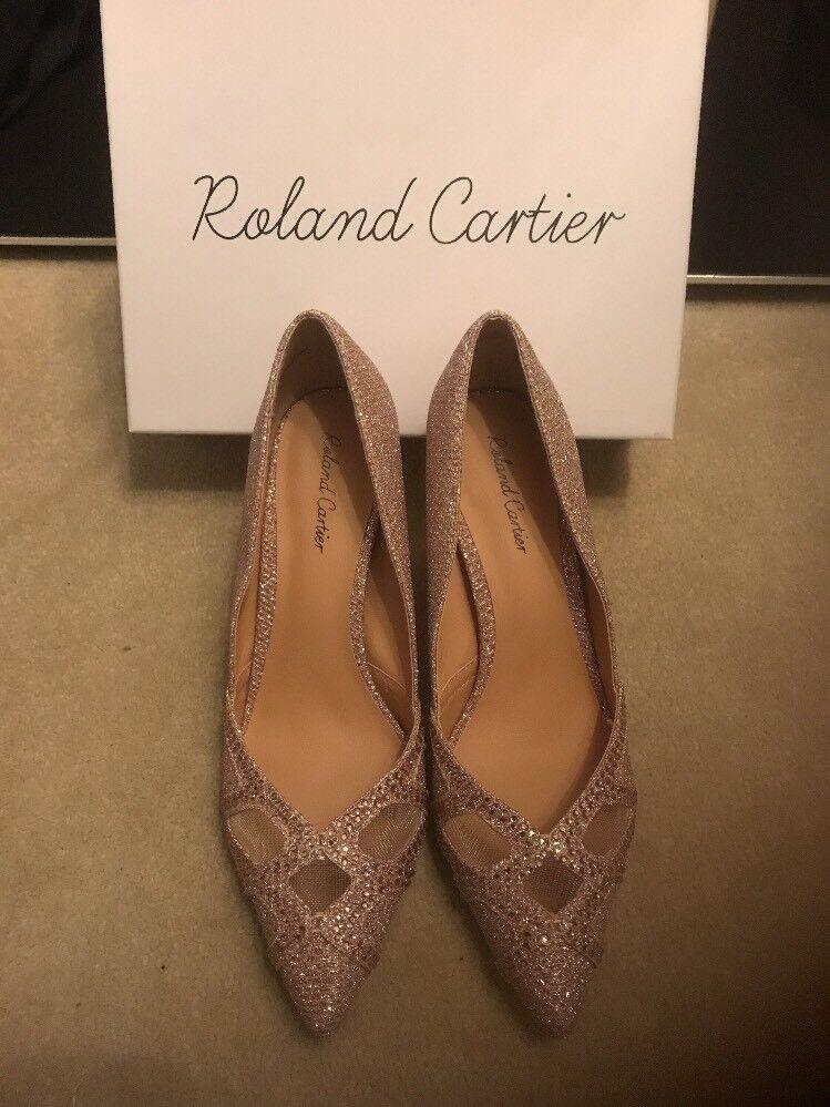 Bnib Roland Cartier pink gold Metallic Diamanté shoes High Heel Stunning