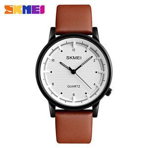 Image is loading SKMEI-Men-Quartz-Watch-Minimalist-Waterproof-Sport-Leather- b2fe0db024873