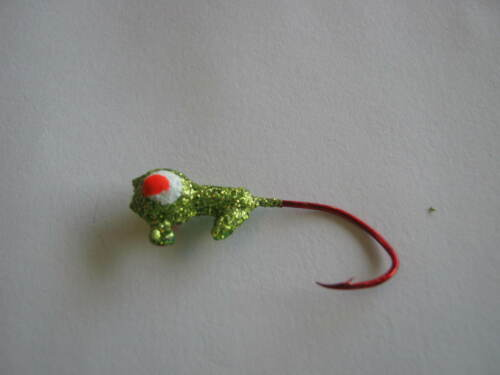 garrett outdoors painted jig heads with red sickle hooks 100 ct lime  glitter