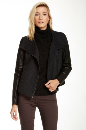 And Jacket Charcoal In S Size Wool Vince Contrast Blend Leather Heather AnqFwEXZ