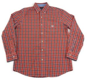 Chaps-Men-Long-Sleeve-Blue-Red-Plaid-Check-Shirt-Size-Medium-Tartan-Casual-Dress