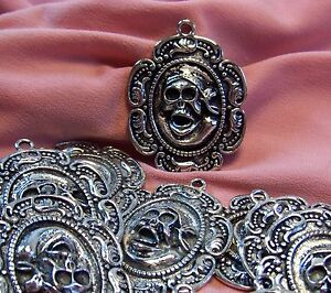 10 BIG SILVER SKELETON PIRATE PENDANTS-FOCAL<wbr/>S-JEWELRY MAKING FINDINGS-SUPPL<wbr/>IES