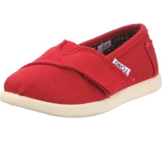 98fdd3f2ff3 Toms Unisex Tiny Classic Alpargatas Flats Kids Size 9 Red Canvas 10010533