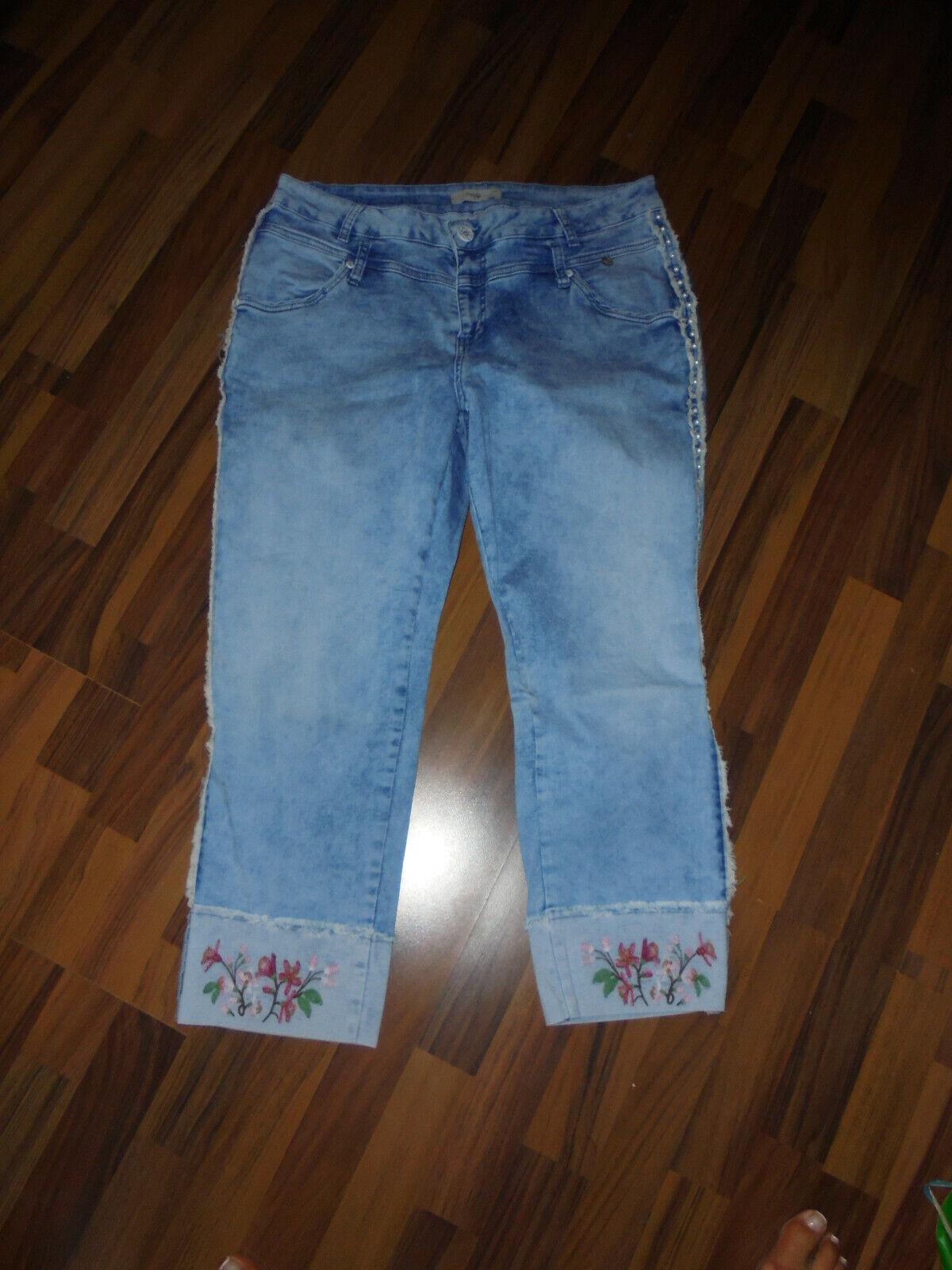 ♥ Tredy Jeans Gr. 46 Perlen und Blumen
