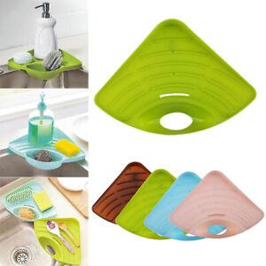 Home Garden Sink Corner Tray Kitchen Sink Corner Storage Rack Sponge Holder Wall Mounted Al Kitchen Storage Organization