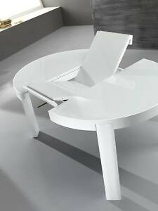 Tavolo moderno tondo in vetro cucina soggiorno allungabile for Tavolo tondo bianco