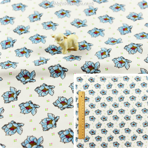 Blue White Fat Quarter//MeterCotton FabricFloral Flower FQRetro Sewing