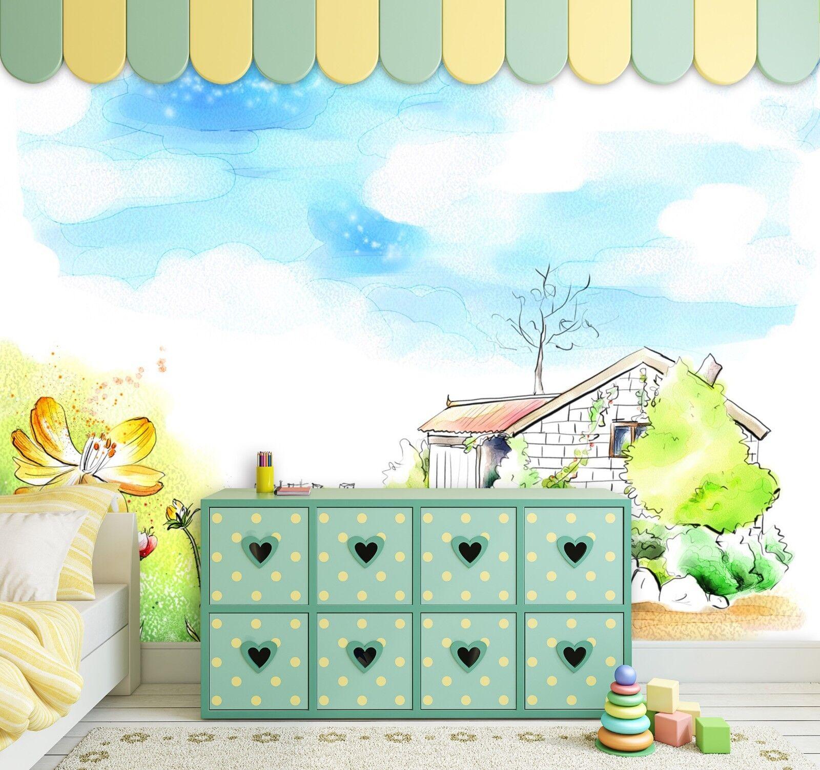 3D Karikatur Haus Himmel 9483 Tapete Wandgemälde Tapeten Bild Familie DE Jenny