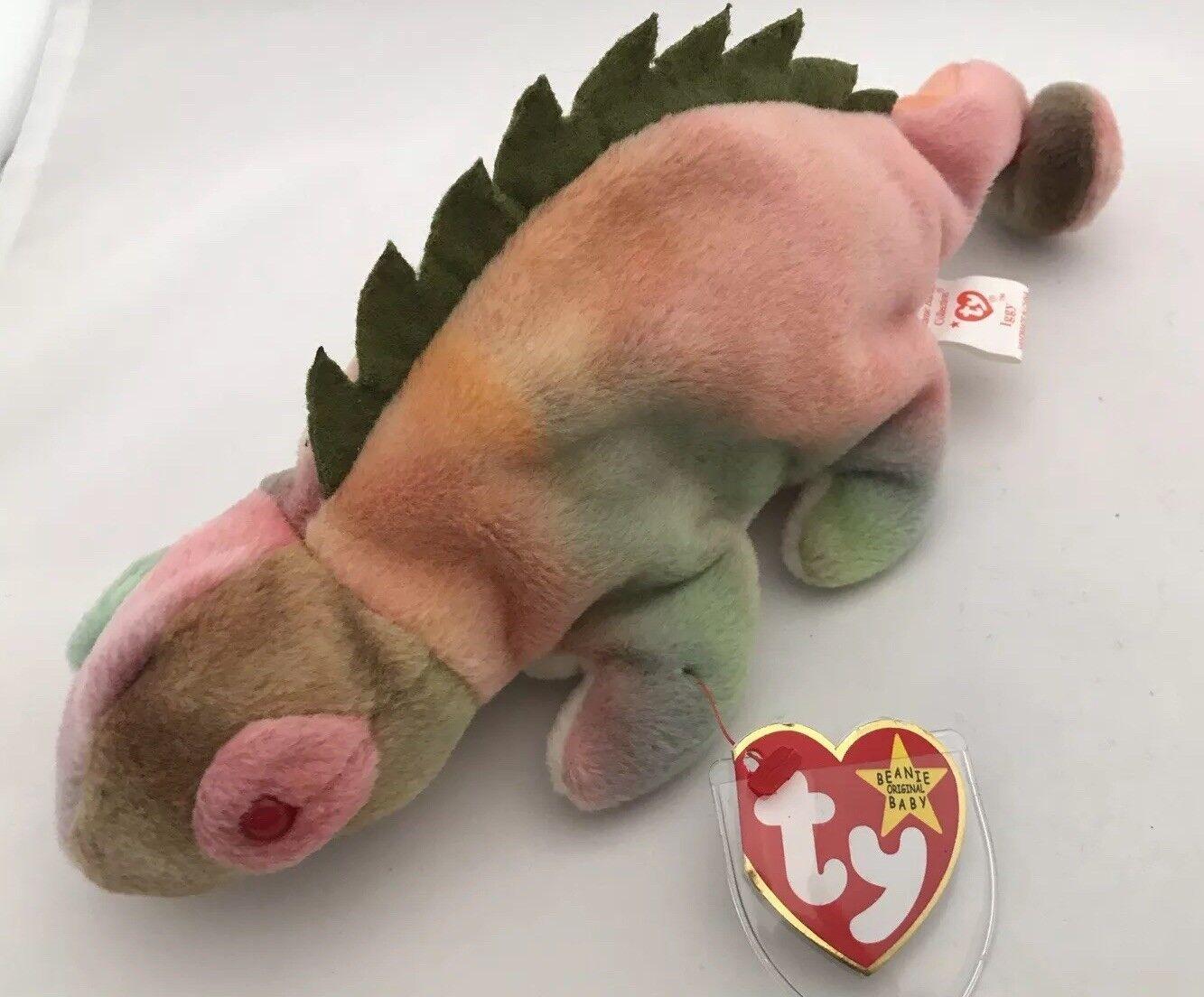 TY Beanie Baby Iggy the Iguana tag errors No Tongue Rare Edition PVC pellets