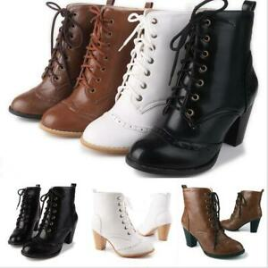Details About Women S Punk Ankle Boots Lace Up Booties Chunky High Heel Rugged Plus Size Shoes