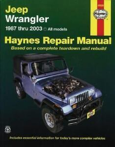 haynes manuals jeep wrangler automotive repair manual 1987 2003 rh ebay com 2005 jeep wrangler repair manual 2005 jeep wrangler repair manual