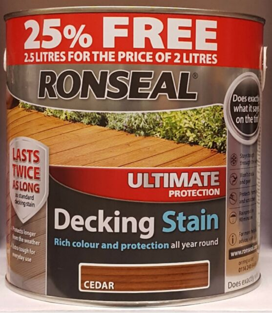 ronseal ultimate protection decking stain 2.5 l  2 l plus 25% various colours