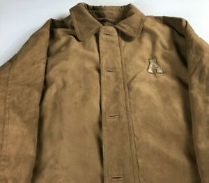 Appalachian-State-Suede-Jacket-Mens-XL-Mountaineers-Coat-Tan-ASU-Zip-Button-Grad