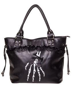 Image Is Loading Banned Gothic Skeleton Hand Bones Shoulder Bag Lace