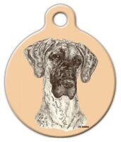 Brindle Great Dane - Custom Personalized Pet Id Tag For Dog And Cat Collars