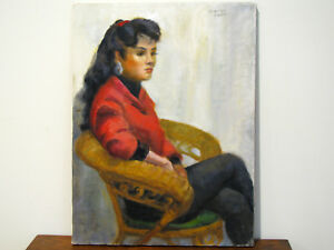 OIL-ON-CANVAS-PAINTING-PORTRAIT-OF-YOUNG-WOMAN-IN-CHAIR-SIGNED