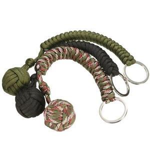 Weaving Umbrella Rope Outdoor Hiking Survive Self-Defense Ball Key Ring