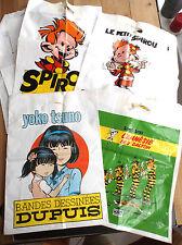 Lot de 13 sacs en plastique  Bd Spirou Yoko Tsuno Lucky Luke