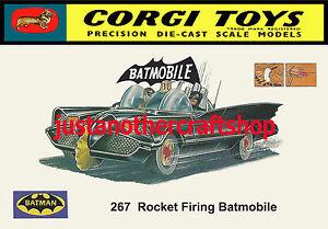 CORGI-TOYS-267-BATMAN-BATMOBILE-1966-A4-dimensioni-Poster-Pubblicita-opuscolo-Negozio-Segno
