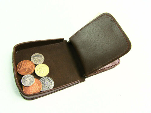 Mens Ladies High Quality Real Leather Coin Pouch Tray Wallet Notes Purse Change