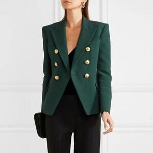 Dettagli su Giacca Donna Elegante Blazer Stile Militare Lunga Bottoni Dorati Aderente