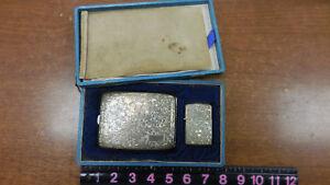 Engraved-950-Elegant-Heavy-Sterling-Silver-Cigarette-Case-amp-Lighter-150-grams