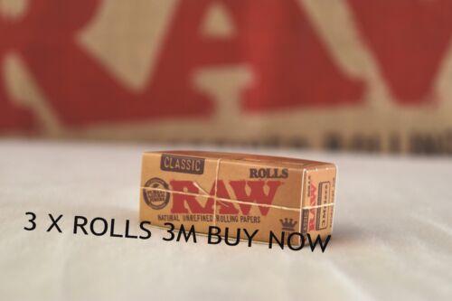 3 X Rollos Clásico Raw 3 metros-King Size 3M Rollo por paquete de 54MM de ancho