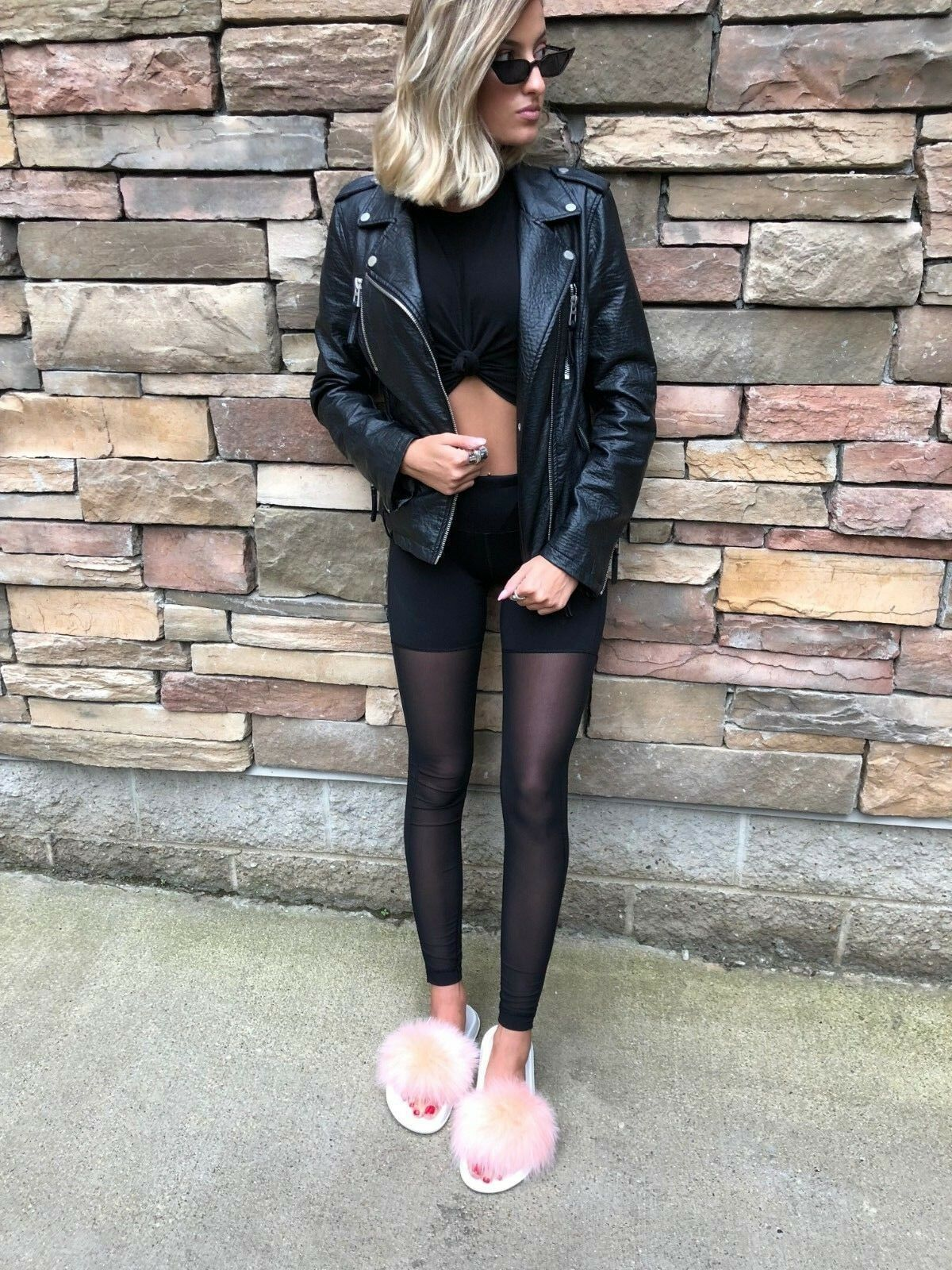 Real Fox Fur Slippers Slides