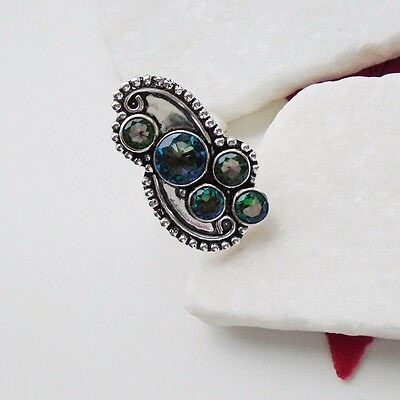 Regenbogen Mystic Topas grün rosa Design Ring Ø 19,75 mm, Silber plattiert neu