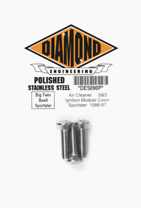 Diamond Engineering Polished Super G /& E Air Cleaner Bolts For 70-76 Harley FLH