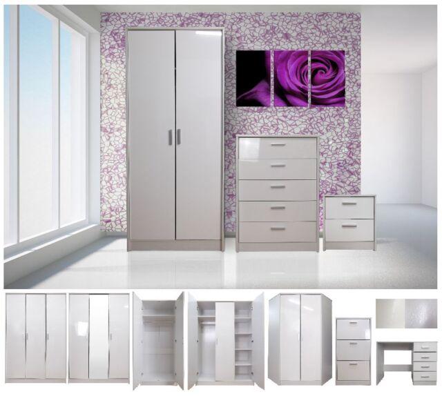 White Gloss/White Oak 2 or 3 Door Wardrobe Mirrored Chest Bedside Desk Furniture