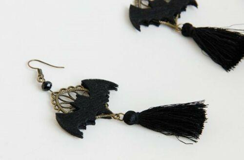 Women Girl BOHO Gothic Halloween Party Black Bat Witches Tassel Earrings Hook