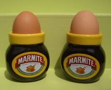 2 X MARMITE ADVERTISING EGG CUPS - PAIR OF COLLECTABLE JAR SHAPED KITCHENALIA