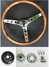 "GRANT Steering Wheel Wood 15"" SS Chrome Spokes Real Wood Fits Ididit Column"