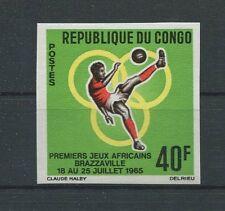 KONGO FUßBALL 1965 UNGEZÄHNT SOCCER FOOTBALL IMPERF NON DENTELE RARE!! h1268