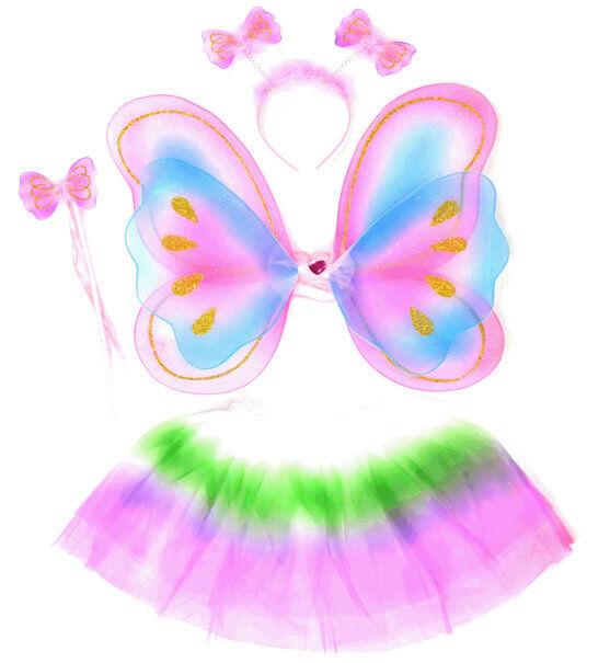 Schmetterlingskostüm mit Tutu Tüllrock  Mädchen Rock  Fasching Ballett Tütü
