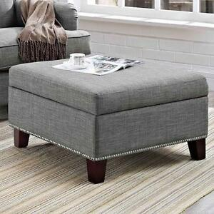 Pleasing Details About Storage Ottoman With Nailheads Grey Linen Look Fabric Square Coffee Table Gray Dailytribune Chair Design For Home Dailytribuneorg