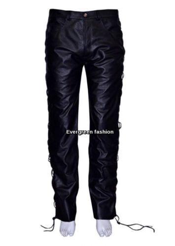 Men's schwarz 501 Real Genuine Hide Leather Motorcycle Biker Jeans LACED Trouser
