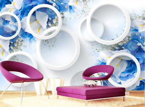 3D bluee Beautiful Petal Paper Wall Print Wall Decal Wall Deco Indoor Murals