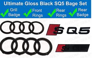 AUDI-SQ5-Brillo-Negro-Insignia-Rejilla-amp-Bota-Insignia-Emblema-Trasero-Conjunto-Anillos