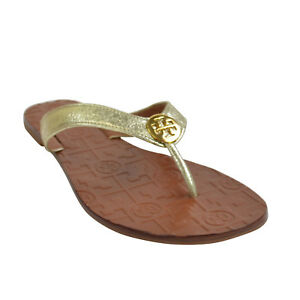 94264723f51315 NEW Tory Burch THORA GOLD Metallic Leather Thong Sandals Size 6-9