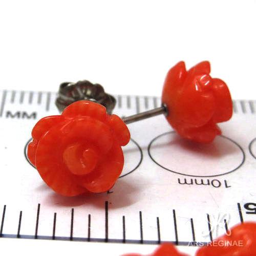 ● 8-9mm ● Stecker Korallen Rosen orange ❤ Titan Ohrstecker ❤