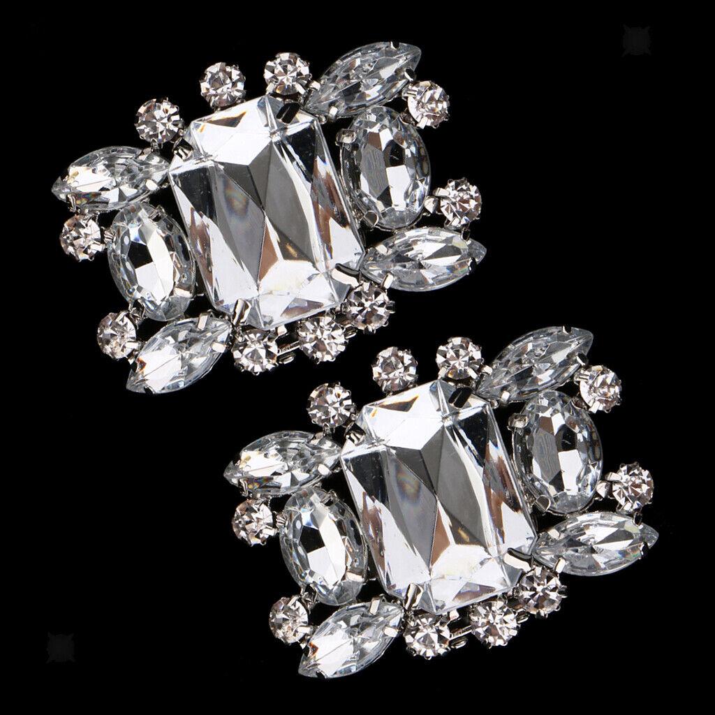 2x Fashion Rhinestone Crystal Wedding Bridal Shoe Clips Buckle Shoe Applique
