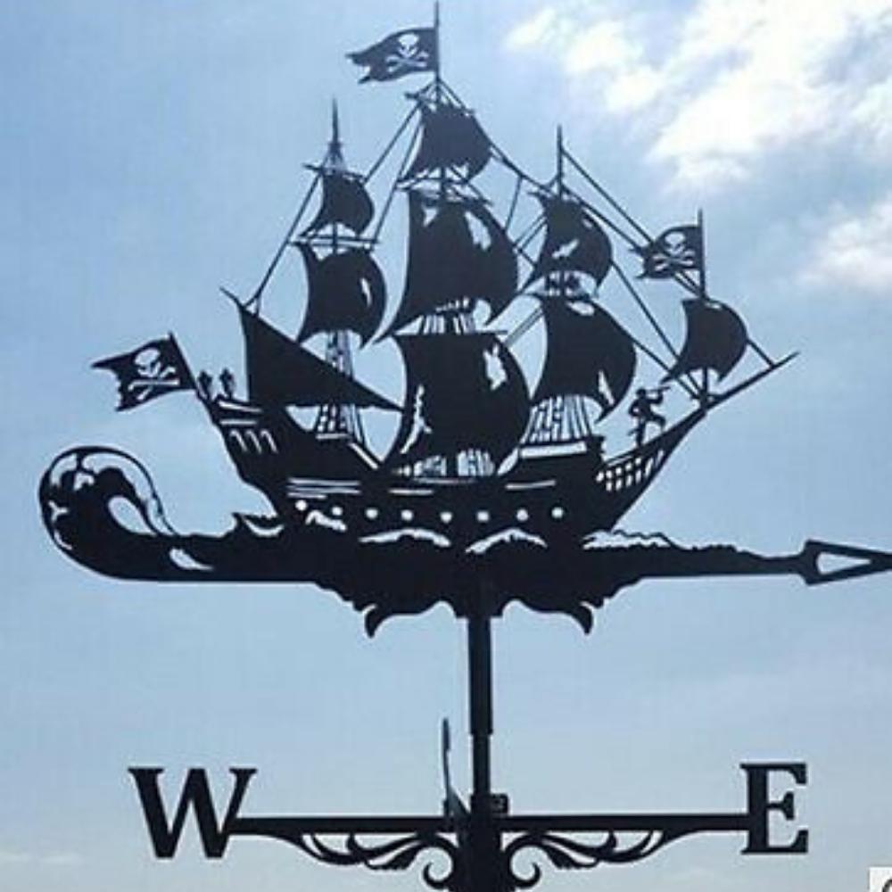 Weathervane Roof Mount Weather Vane Outdoor Garden Pirate Ship Scene 20'' Tall